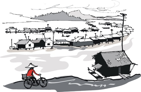 fishing village: Vector illustration of fishing village, Vietnam