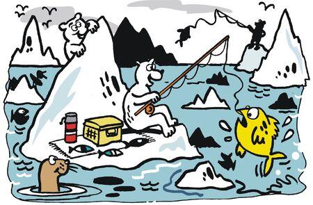 Vector cartoon of polar bears on icebergs Vector