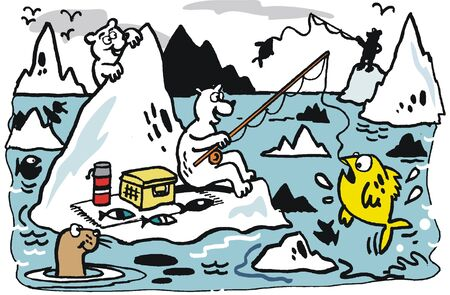 floe: Vector cartoon of polar bears on icebergs