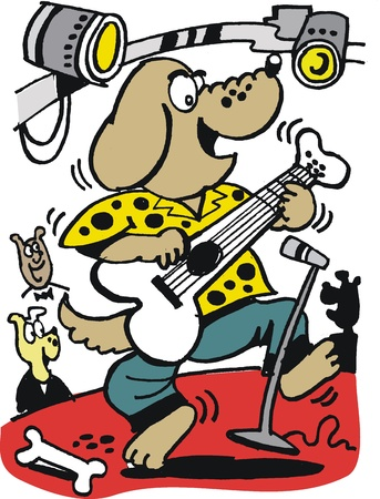 cartoon of dog rock star on stage Vector