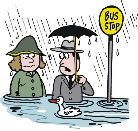 lloviendo: caricatura de hombre y mujer en la parada de autobús inundado
