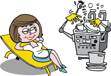 dishwasher: cartoon of housewife relaxing from kitchen chores
