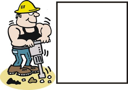 construction worker cartoon: cartoon of construction worker with drill