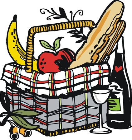illustration of food and wine in picnic basket Vector