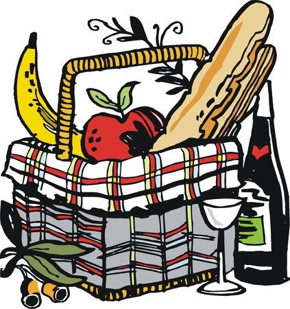 food container: ilustraci�n de la comida y el vino en la cesta de picnic