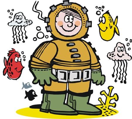 man underwater: cartoon of happy diver underwater