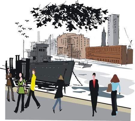 thames:  illustration of boat moored on Thames River, London England Illustration