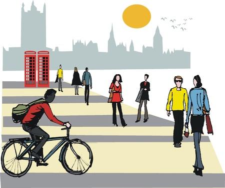 illustratie van de fietser in Londen Engeland Stock Illustratie