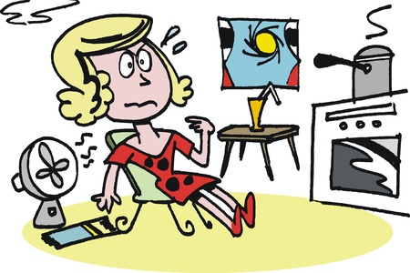 appliance:  cartoon of tired housewife Illustration
