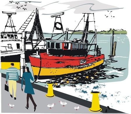 fishing boat: 부두에서 낚시 보트의 그림