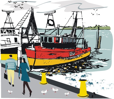 harbor:  illustration of fishing boat at wharf
