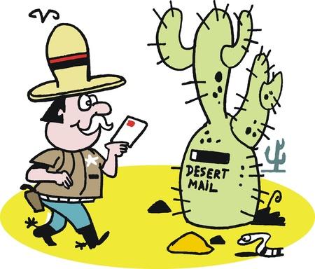 birds desert: cartoon of cowboy posting letter in desert
