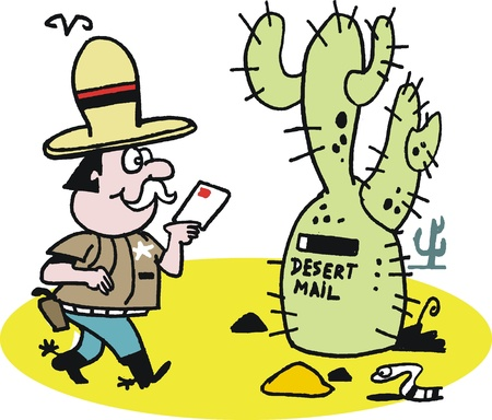 posting: cartoon of cowboy posting letter in desert