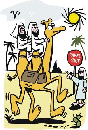 sheikh: cartoon of Arabs riding on camel