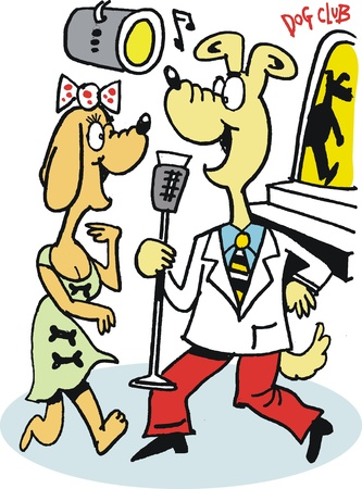 cartoon of dog singing with microphone Vector