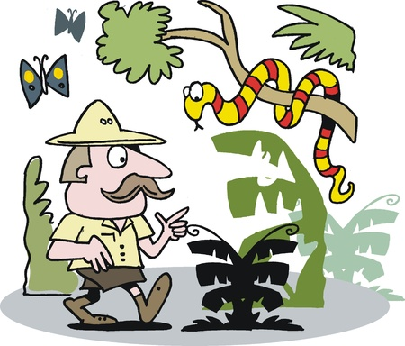 discovering: cartoon of explorer in dangerous jungle Illustration