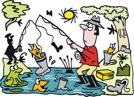 cartoon of fisherman catching boot Vector