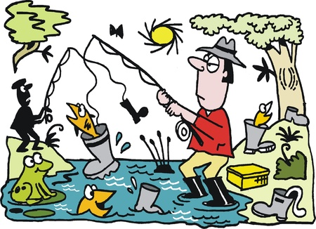 anglers: cartoon of fisherman catching boot Illustration