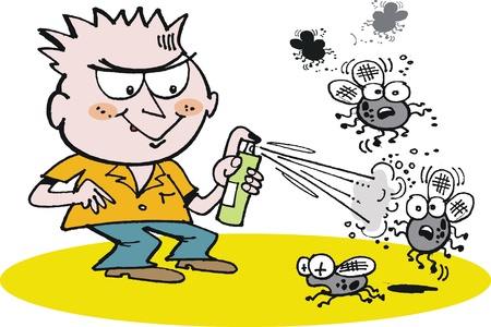 insect flies: cartoon of small boy using fly spray can