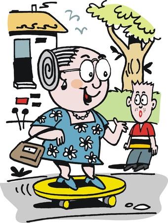 senior lady:  cartoon of happy grandmother on skateboard