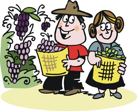cultivation: cartoon of happy grapepickers in vineyard