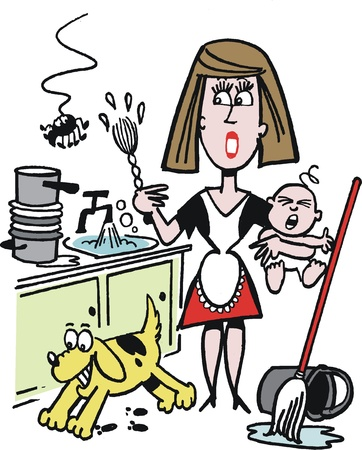 ersch�pft: Karikatur besch�ftigte Hausfrau am Sp�lbecken