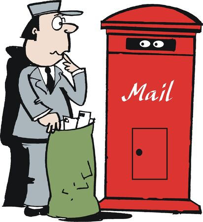 post box: cartoon of postman at mailbox Illustration