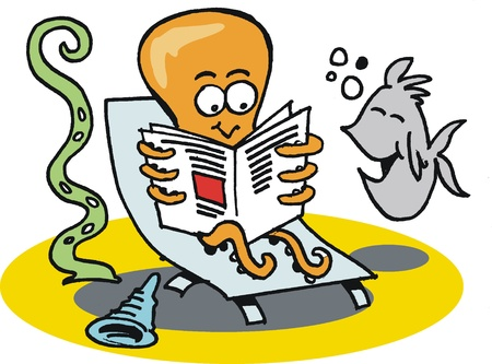 cartoon of octopus reading newspaper Stock Vector - 10427322