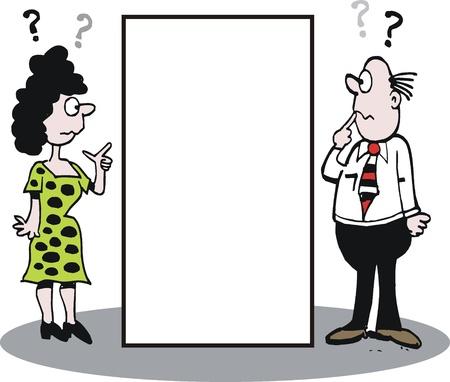 caricature de l'homme et la femme en posant des questions