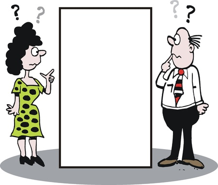 confused person: cartoon of man and woman asking questions