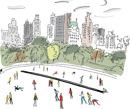 illustration of people ice skating in New York Vector