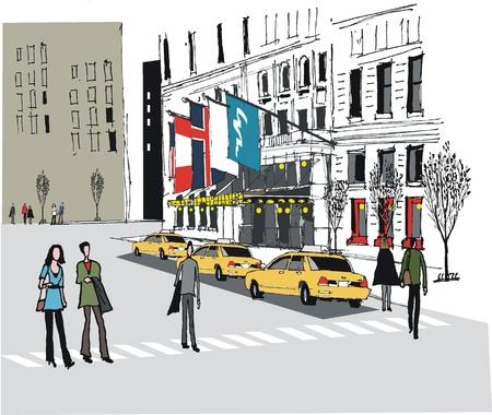 illustratie van taxi's buiten New York Hotel