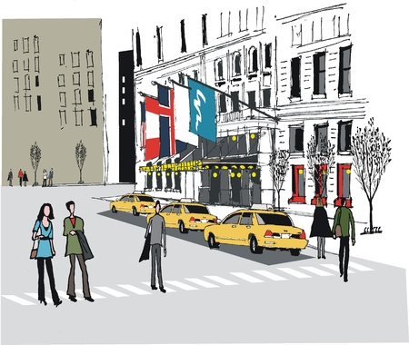hotel building:  illustration of taxis outside New York Hotel