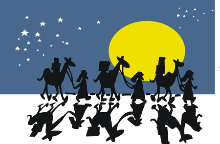 camels: Vector cartoon of camels and arabs in desert at night Illustration