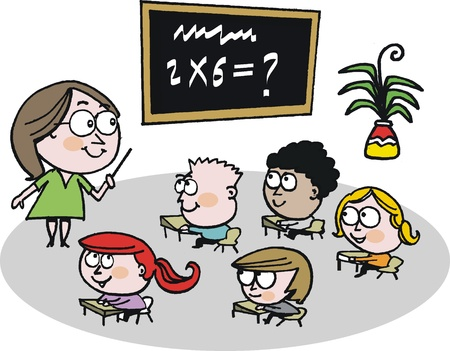 Vector cartoon of school teacher in classroom Vector