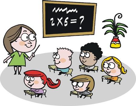 multiplicaci�n: Vector de cartoon de maestro de escuela en el aula