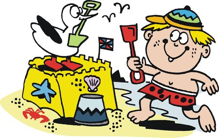 jokes: Cartoon of boy building sand castle at beach