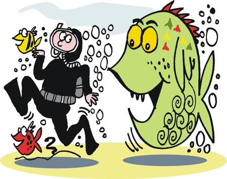 skin diving: Cartoon of large hungry fish chasing diver