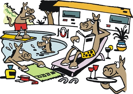 suntan lotion: Cartoon of happy horses relaxing around pool
