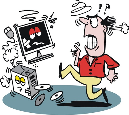 frustrated: Cartoon of frustrated man kicking computer