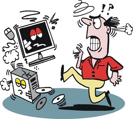 Cartoon van gefrustreerde man schoppen computer
