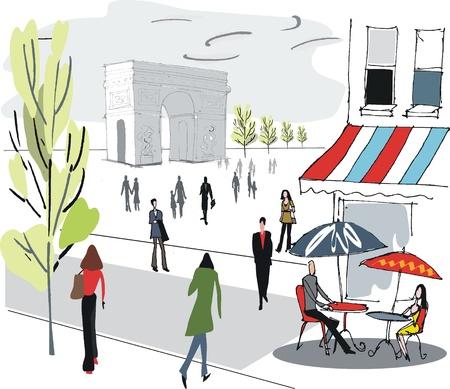 Illustration of Paris cafe scene
