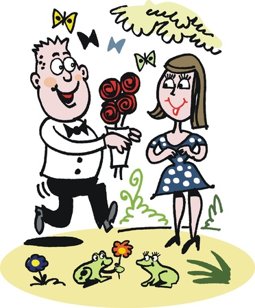 man outdoors: Cartoon of man giving roses to woman