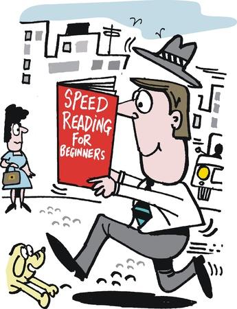 Caricature de l'homme courir et la lecture du livre