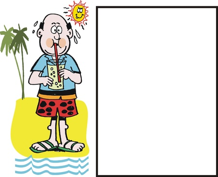 room for text: Cartoon of man drinking soft drink at beach
