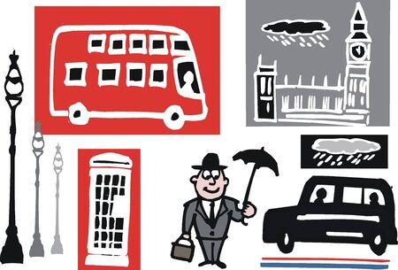 red bus: cartoon of London symbols Illustration