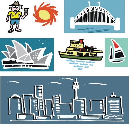 sydney:  illustration of Australian icons