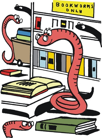 studious: cartoon of studious bookworms in library