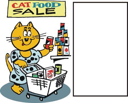 cartoon of happy cat shopping in supermarket Stock Vector - 10557112