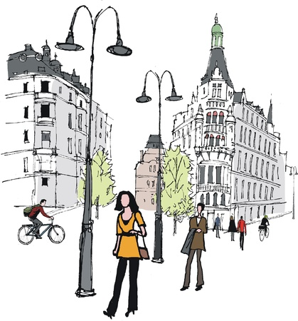 illustration of pedestrians in Stockholm, Sweden Vector